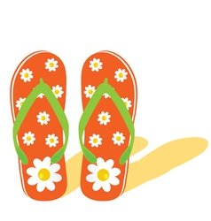 Flip flop for beach with flower vector