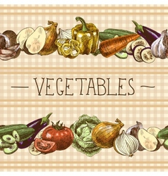 Vegetables seamless pattern border vector image