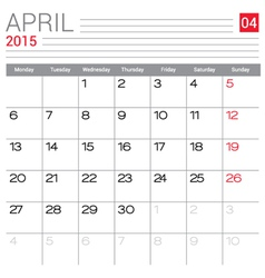 2015 April calendar page vector image