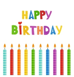 Set of color birthday candles vector