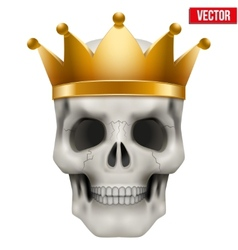 Human skull with king gold crown vector