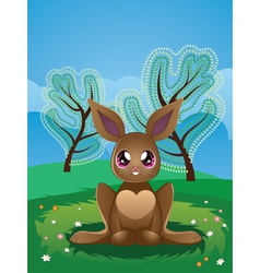 Brown rabbit on lawn2 vector