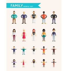 Set of flat design family people parents and vector