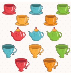 Cartoon collection of cup and teapot vector