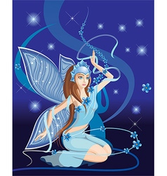 Sparkling blue elf cartoon vector