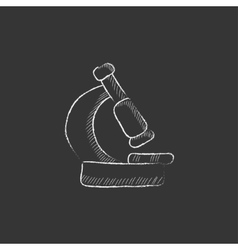 Microscope drawn in chalk icon vector