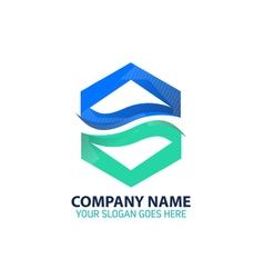 Blue River Abstract Logo Icon Template vector image