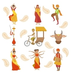 Dancing Holy Cow And Other Indian Cultural Symbol vector image