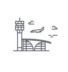 Airport building plane is landing line vector