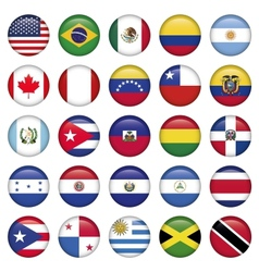 American Flags Round Icons vector image