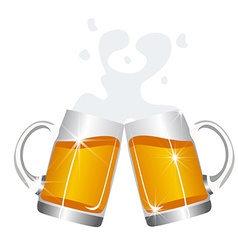 Beer mugs cheers vector image vector image