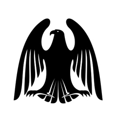 Black eagle silhouette with raised wings vector image