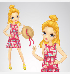 Blonde girl holds straw hat vector