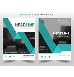 Blue triangle annual report brochure flyer design vector