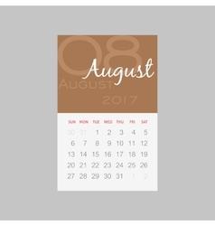Calendar 2017 months August Week starts Sunday vector image