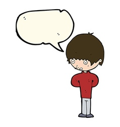 Cartoon nervous boy with speech bubble vector
