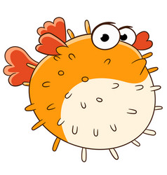 cartoon puffer fish vector image
