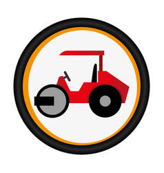 Colorful circular emblem with road roller vector