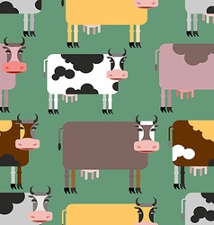 Cow seamless pattern background of animals herd of vector