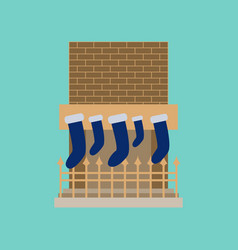 Flat on background of fireplace christmas socks vector