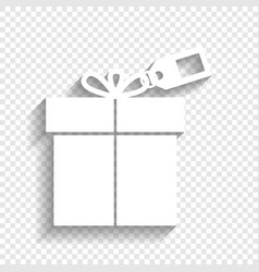 Gift sign with tag white icon with soft vector