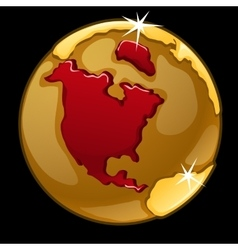 Golden globe with marked of north america vector