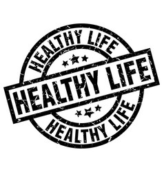 Healthy life round grunge black stamp vector