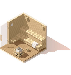 isometric low poly sauna room icon vector image vector image