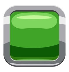 Light green square button icon cartoon style vector