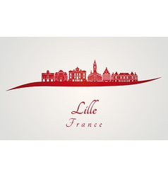 Lille skyline in red vector image vector image