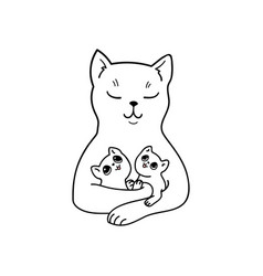 mother cat with her adorable baby kittens vector image
