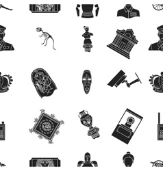 Museum pattern icons in black style big vector