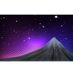 Nature scene with mounatain at night vector