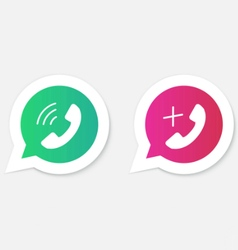 Phone handset icons in speech bubbles vector image vector image