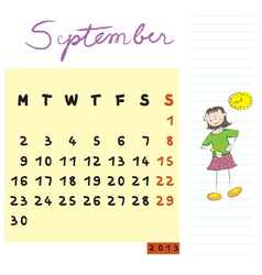 september 2013 kids vector image