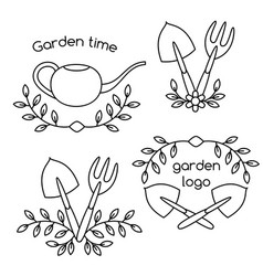 Set of cute vintage gardening tools logo vector
