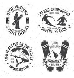 set of ski and snowboard club insignia badges vector image