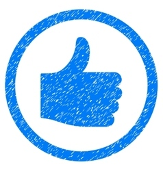 Thumb up rounded icon rubber stamp vector