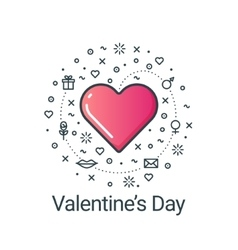 Valentines day flat line heart vector image