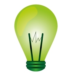 Green regular lightbulb icon vector