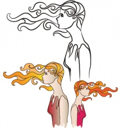 girl in wind vector image