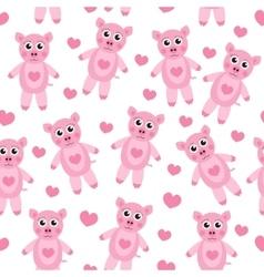 Cute cartoon pig puppy seamless texture Children vector image