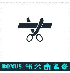 Scissors cutting ribbon icon flat vector