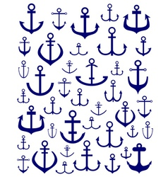 silhouettes of anchors vector image