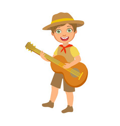 Happy boy scout with guitar a colorful character vector