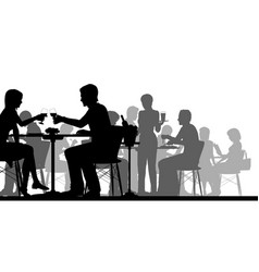 Busy restaurant silhouette vector