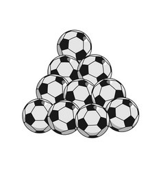 pile soccer ball isolated lot of football balls vector image