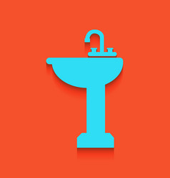 Bathroom sink sign whitish icon on brick vector