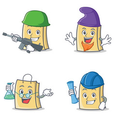Set of bag character with army elf professor vector