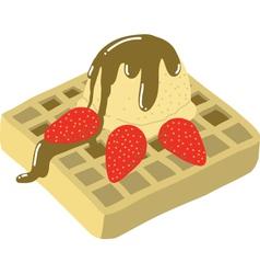 Strawberry waffle with vanilla ice-cream vector